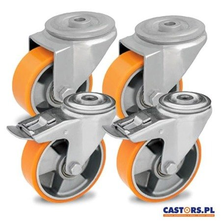 A set of swivel castors for a storage trolley, 2x swivel with brake and 2x swivel 2xKJMKJM-ALPU 125K-HC polyurethane tread / 125 mm / ball bearing / load capacity 900 kg